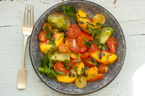 Tomato, Basil and Peach Salad